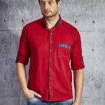 czerwona koszula męska elegancka moda męska